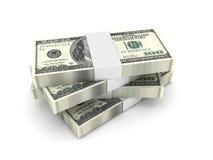 Pilha de 100 contas de dólar Fotos de Stock
