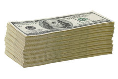 Pilha de $100 contas de dólar Foto de Stock