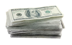 Pilha de 100 contas de dólar Fotografia de Stock Royalty Free