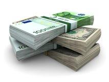 Pilha de $100 e de contas 100⬠Imagem de Stock Royalty Free