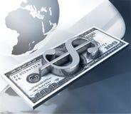 Pilha de $100 sobre o fundo com globo da terra Fotografia de Stock