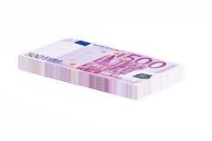 Pilha de 500 notas de EUR Fotos de Stock Royalty Free