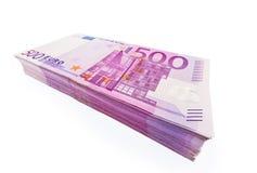 Pilha de 500 notas de EUR Fotografia de Stock