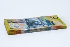 Pilha de Australian cinqüênta notas do dólar imagem de stock royalty free