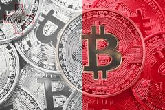 Pilha de bandeira de Bitcoin Malta Conceito dos cryptocurrencies de Bitcoin B imagem de stock royalty free