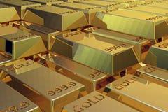 Pilha de barras de ouro. Foto de Stock