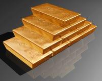 Pilha de barras de ouro puras Imagens de Stock