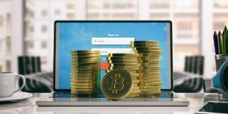 Pilha de Bitcoins em um computador ilustração 3D Imagens de Stock Royalty Free