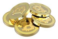 Pilha de bitcoins isolados no branco. Imagem de Stock