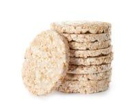 Pilha de bolos de arroz crocantes fotografia de stock