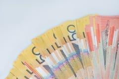 Pilha de cédulas australianas do dinheiro Imagem de Stock