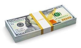 Pilha de 100 cédulas novas do dólar americano Foto de Stock
