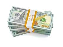 Pilha de 100 cédulas novas dos dólares americanos Imagens de Stock