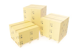 Pilha de caixas da entrega do cartão para pacotes na pálete Fundo do conceito do armazém rendição 3d Imagem de Stock