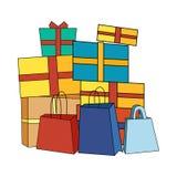 Pilha de caixas de presente envolvidas coloridas Foto de Stock Royalty Free