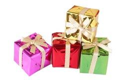 Pilha de caixas de presente no branco Imagens de Stock
