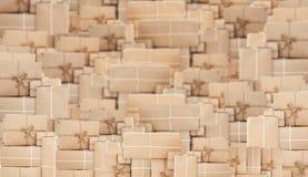 Pilha de caixas marrons da encomenda postal, fundo abstrato Imagem de Stock Royalty Free