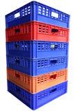 Pilha de caixas plásticas Foto de Stock Royalty Free