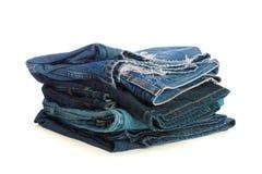 Pilha de calças de ganga velha Fotos de Stock