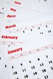 Pilha de calendários mensais Fotografia de Stock Royalty Free