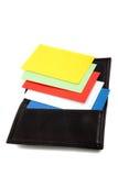 Pilha de cartões coloridos no suporte de cartão Imagem de Stock Royalty Free