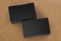 Pilha de cartões de nome pretos Fotografia de Stock