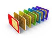Pilha de cart?es coloridos do telefone SIM Imagens de Stock Royalty Free