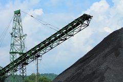 Pilha de carvão com transporte fotografia de stock royalty free