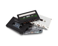 Pilha de cassetes de banda magnética velhas Imagem de Stock Royalty Free