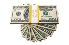 Pilha de cem contas de dólar Fotos de Stock Royalty Free