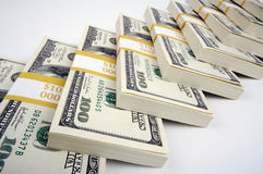 Pilha de cem contas de dólar Imagem de Stock Royalty Free
