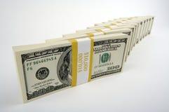 Pilha de cem contas de dólar Fotografia de Stock