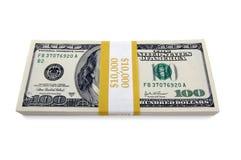 Pilha de cem contas de dólar Imagens de Stock Royalty Free