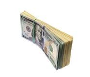 Pilha de cem dólares Imagem de Stock