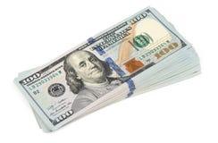 Pilha de cem dólares Foto de Stock Royalty Free