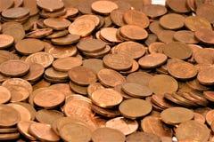 Pilha de centavos de um Euro imagem de stock royalty free