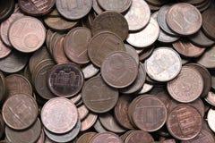 Pilha de centavos de um Euro fotografia de stock royalty free