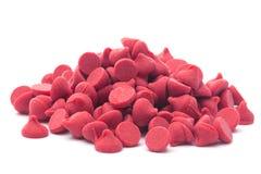 Pilha de Cherry Baking Chips vermelho gourmet fotografia de stock