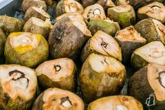 Pilha de cocos cortados para bebidas do cocktail imagem de stock
