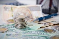 Pilha de composição polonesa do negócio de dinheiro Imagem de Stock Royalty Free