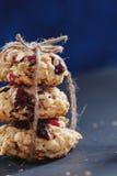 Pilha de cookies saudáveis com abricós secados, arandos e oa Imagens de Stock