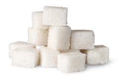 Pilha de cubos do açúcar branco Foto de Stock