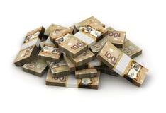 Pilha de dólar canadense Foto de Stock