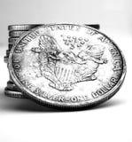 Pilha de dólares e de moedas fotografia de stock