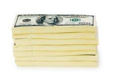 Pilha de dólares isolados Foto de Stock
