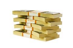 A pilha de dólares isolou-se Foto de Stock