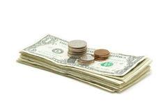 Pilha de dinheiro & de moedas Fotos de Stock Royalty Free