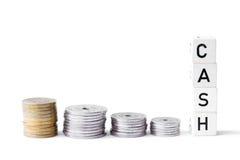 A pilha de dinheiro com o dinheiro da palavra isolou o fundo branco Imagens de Stock Royalty Free