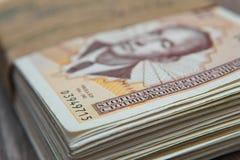 Pilha de dinheiro convertível de Mark do bosniano cem com calculadora Imagem de Stock Royalty Free