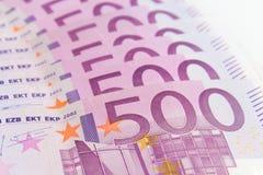 Pilha de dinheiro do dinheiro - 500 euro- contas macro Imagens de Stock Royalty Free